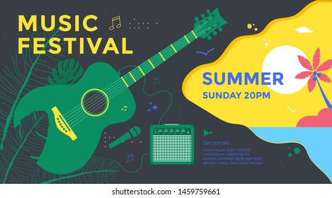 Summer music festival poster design with green guitar and tropical leaves. Concert banner vector template.