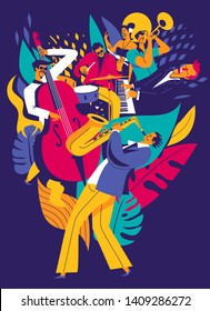Summer music festival poster. Multiple musicians composition on abstract floral background. Modern flat colors illustration.