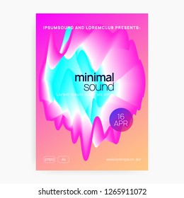 Summer music. Fluid holographic gradient shape and line. Electronic sound. Night dance lifestyle holiday. Modern trance show magazine template. Fest poster and flyer for summer music.