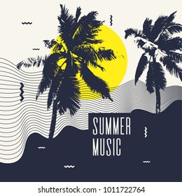 Summer music. Modern poster with palm tree. Vector illustration.