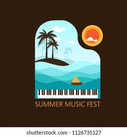 Summer music with piano, sea, sun . creative concept for poster, banner, etc.