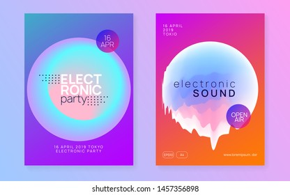 Summer music set. Dynamic indie event invitation template. Fluid holographic gradient shape and line. Electronic sound. Night dance lifestyle holiday. Fest poster and flyer for summer music.