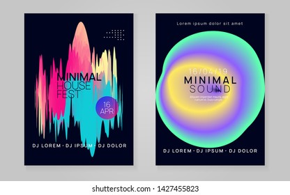 Summer music set. Fluid holographic gradient shape and line. Electronic sound. Night dance lifestyle holiday. Abstract indie show cover layout. Fest poster and flyer for summer music.