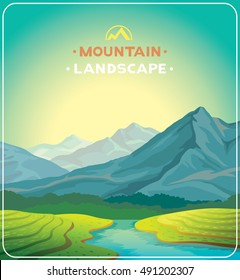 Summer natural landscape with blue mountains, green tea plantations and river. Sunrise vector illustration.