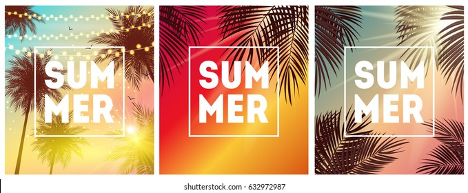 Summer Natural Placard, Poster, Flyer or Invitation Background  Collection Set with Frame Vector Illustration EPS10