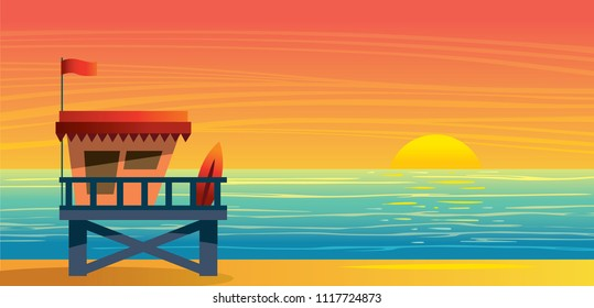 Summer nature landscape with lifeguard station, blue sea and sun on a sunset sky. Vecor illustration.