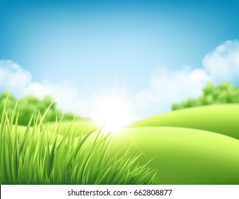 Summer nature sunrise background, a landscape with green hills and meadows, blue sky and clouds. Vector illustration EPS10