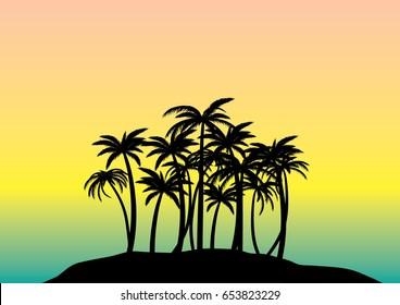 Summer nature vector illustration palm tree island in the sunset