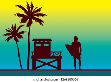 Summer nature vector illustration - Silhouette of surfer, lifeguard station and palm tree. Sport card - surfing.