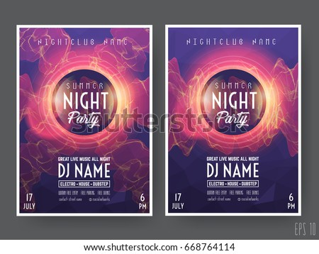 summer night club party flyer poster のベクター画像素材
