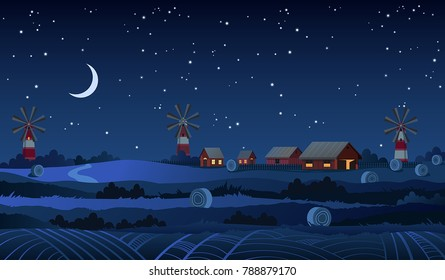 Summer night farm vector landscape with stars and crescent moon in the dark blue sky.