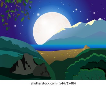 Summer Night landscape. In the background the lake and sandy beach. Large moon in the sky. Beautiful background.