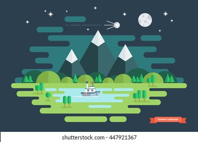 Summer night landscape. Nature landscape with moon, stars, mountains and clouds. Flat design vector illustration.