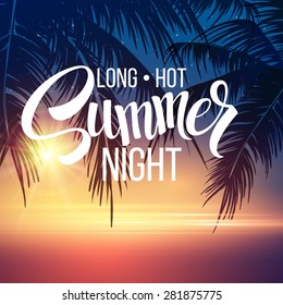 Summer Night. Palm trees  in the night. Vector illustration EPS 10