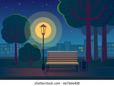 Summer night in the park. Vector illustration of public park with town building background, path, bench and glowing street lamp in night time.
