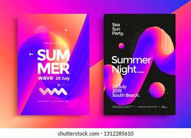 Summer night party poster. Club bright flyer. Abstract gradients waves music background.