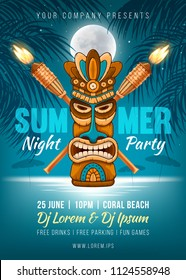 Summer Night party poster design with Tiki mask, bamboo torch and silhouette of the palm leaves, full moon and it reflection in the sea water near the beach. Vector illustration