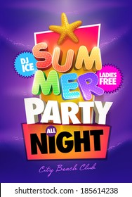 Summer Night Party Poster design template. Elements are layered separately in vector file.