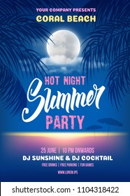 Summer Night party poster romantic design with silhouette of the palm leaves, full moon and it reflection in the sea water near the beach. Vector illustration