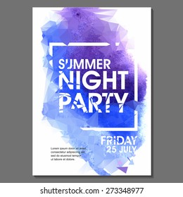 Summer Night Party Vector Flyer Template - EPS10 Design. Polygonal graphic. Watercolor spot.