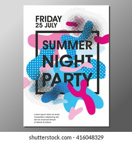 Summer Night Party Vector Flyer Template - EPS10 Design.