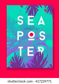 Summer Night Party Vector Flyer Template. Modern stile. Sea poster with palm. Blue.