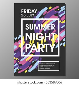 Summer Night Party Vector Flyer Template with simple abstract flat background design - EPS10