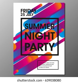 Summer Night Party Vector Flyer Template - EPS10 Design