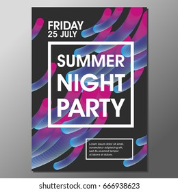 Summer Night Party Vector Flyer Template with simple abstract flat background design