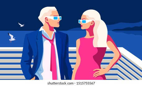 Summer night scene. Couple in love, young man and woman, wearing summer clothes and sunglasses, standing face to face. Sea background with gulls, night sky. Vector illustration