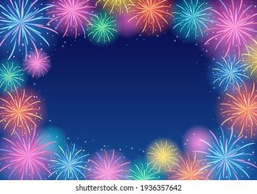 Summer night sky and fireworks vector illustration frame landscape (background)
