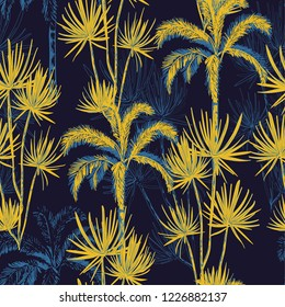 Summer night tropical hand drawn doodle line sketch plam and coconut trees ,island design fot fashion,fabric, and all prints on navy blue background color