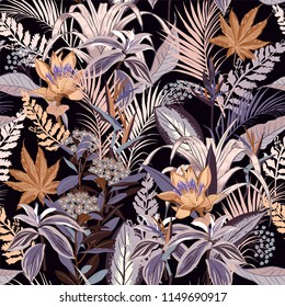 Summer night wild forest full of  blooming flower in many kind of florals seasonal seamless pattern vector ,hand drawing style for fashion, fabric and all prints on black background.