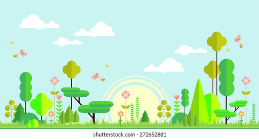 Summer noon forest flat panorama background. Simple and cute landscape for app, web, game design.