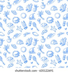 Summer objects seamless pattern. Doodle background with badminton, palm tree, flip flops, sun cream, ice cream, watermelon, cocktails. Beach vacation vector illustration.
