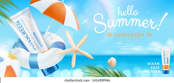 Summer ocean safe sunscreen with starfish and parasol elements on bokeh glitter beach scene, 3d illustration