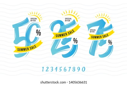 Summer Offer, Sale Tag, 50%, 75%, 25% Discount Tag, Sticker, Badge