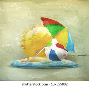 Summer, old-style vector