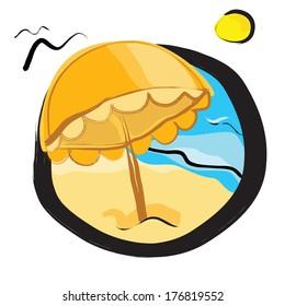 Summer on the beach vector icon