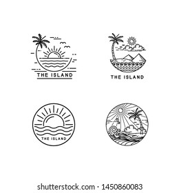 summer on tropical island, mono line style design set