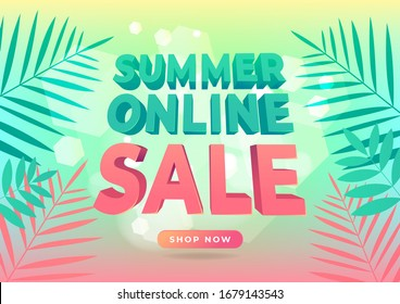 Summer online sale banner in trendy style with tropical leaves for promotion.