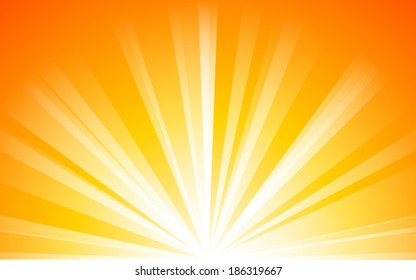 summer orange background with light Rays  (vector)