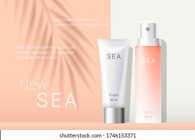 Summer orange sunscreen spray and white cream ads template. Peach gradient cosmetics spray and white cream tubes with shadow of tropical palm leaf. Realistic 3d style. Vector illustration.