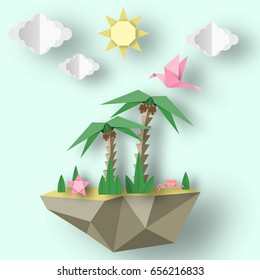 Summer Origami Art Applique. Paper Crafted Cutout World. Decoration Template for Banner, Card, Logo, Poster. Composition with Style Elements and Symbols for Summertime. Design Vector Illustrations.