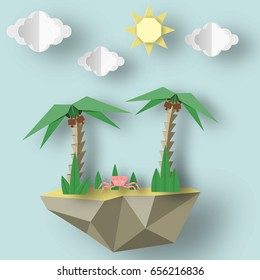 Summer Origami Art Applique. Paper Crafted Cutout World. Composition with Style Elements and Symbols for Summertime. Decoration  Template for Banner, Card, Logo, Poster. Design Vector Illustrations.