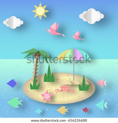 Summer Origami Fun Art Applique Paper Stock Vector Royalty Free