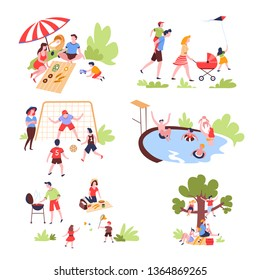 Summer outdoor activity and recreation family leisure vector pastime on nature picnic and walk football game and swimming pool bbq party and badminton tree climbing and reading parents and children.