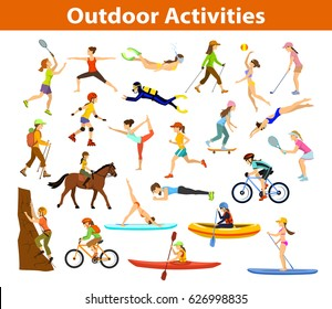 Summer Outdoor, beach sports and activities set. Woman do yoga, running, cycling, travel with mountain bike backpack, paddle, kayaking, climbing, rafting,snorkel, hiking, plays tennis, golf,badminton
