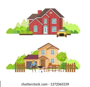 Summer outdoor picnic in yard of private house, cottage. Young man near barbecue grill. Cottage with plot of land, fruit trees, plants. Outdoor recreation, riding a sport bike. Cartoon vector.