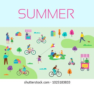 Summer outdoor scene with active family vacation, park activities illustration with kids, couples, families, relexing on nature, walk with dog, ride bicycles